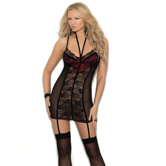 7099880a6 Item  4348 Lace and mesh gartered chemise. Boutique. Elegant Moments